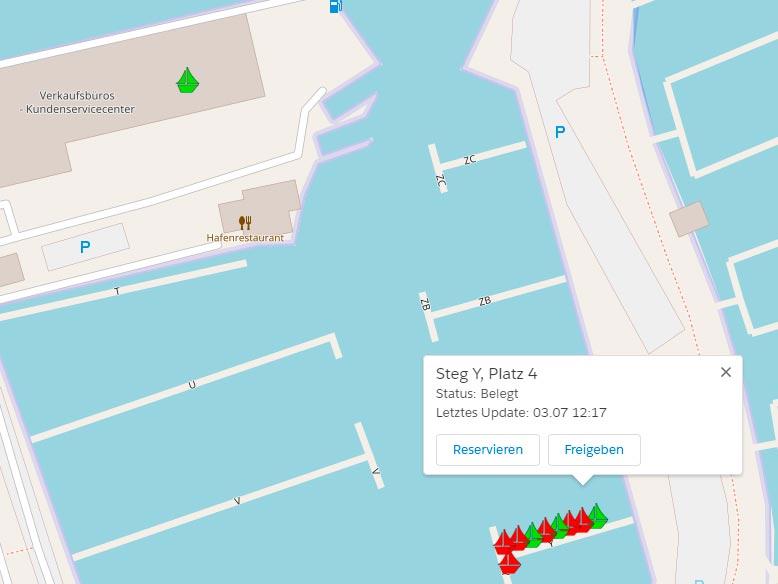 SMBL Dashboard, die freien udn belegten Liegeplätze grafisch dargestellt